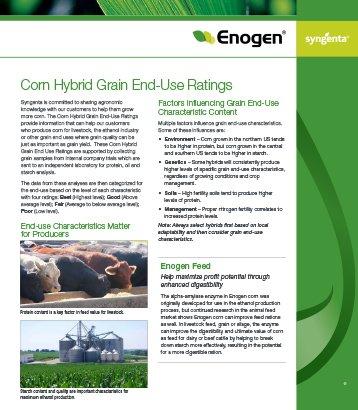Enogen Corn Hybrid Grain End-Use Ratings Sheet